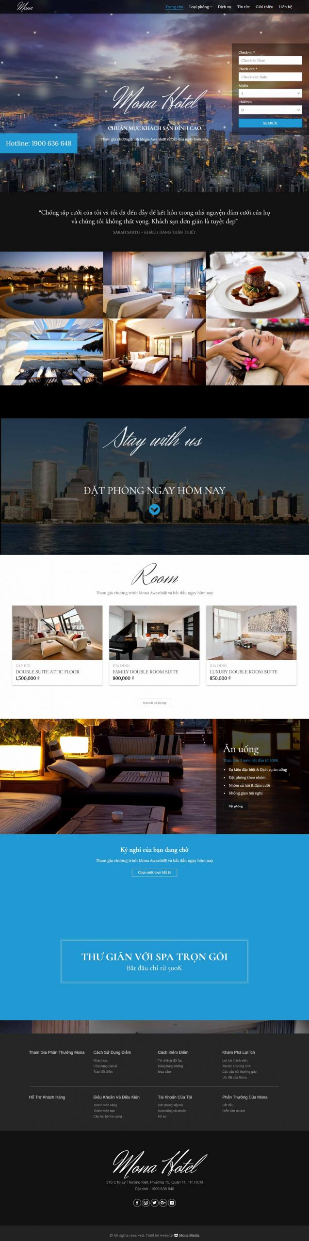 Mẫu Website giới thiệu Khách Sạn Encore