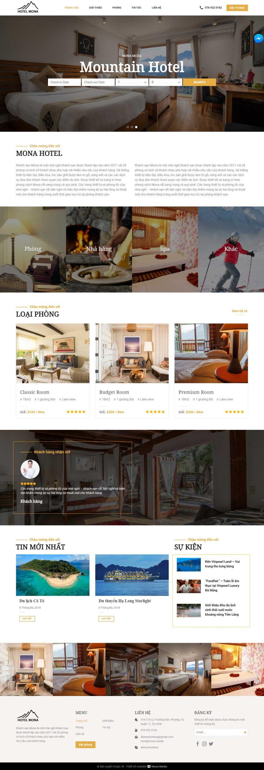 Mẫu website dịch vụ khách sạn Mountain