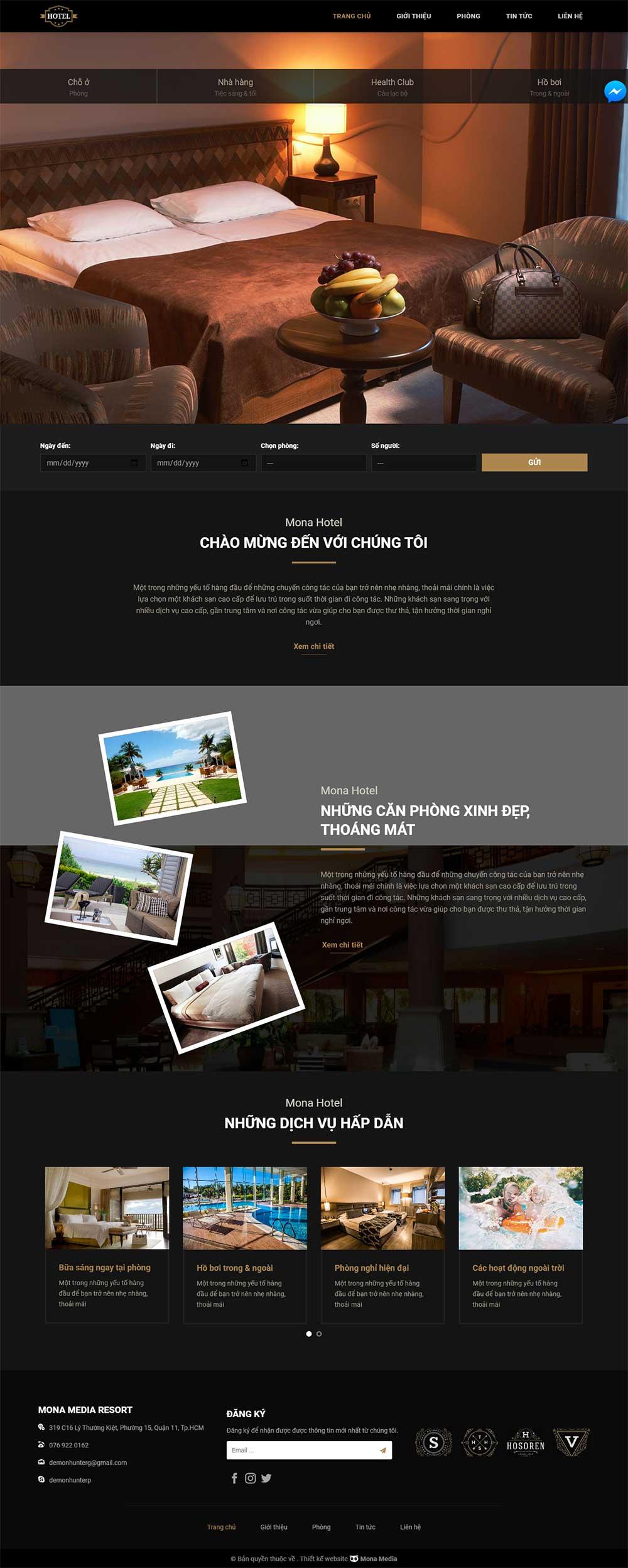 Mẫu Website dịch vụ Khách Sạn Leisure