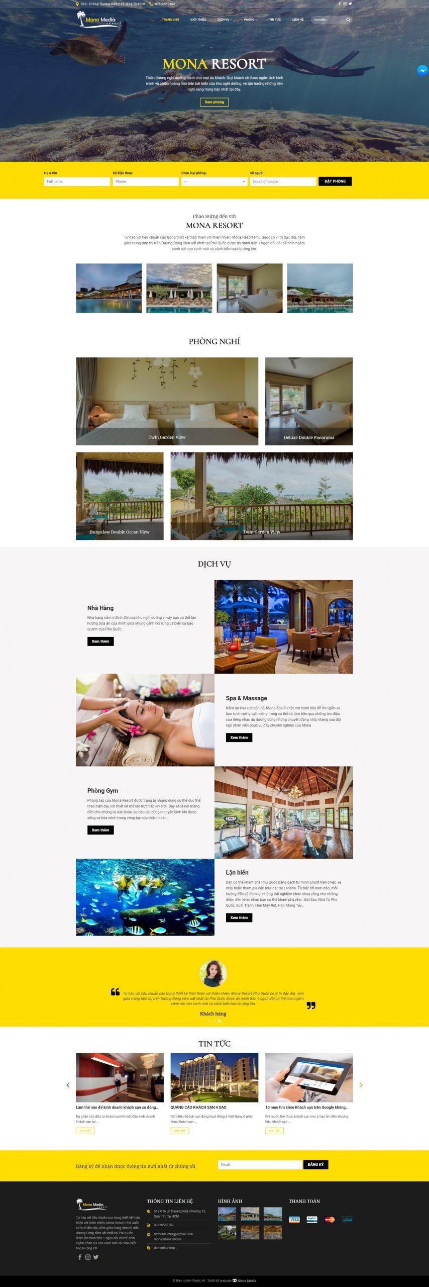 Mẫu web khách sạn Bellevue