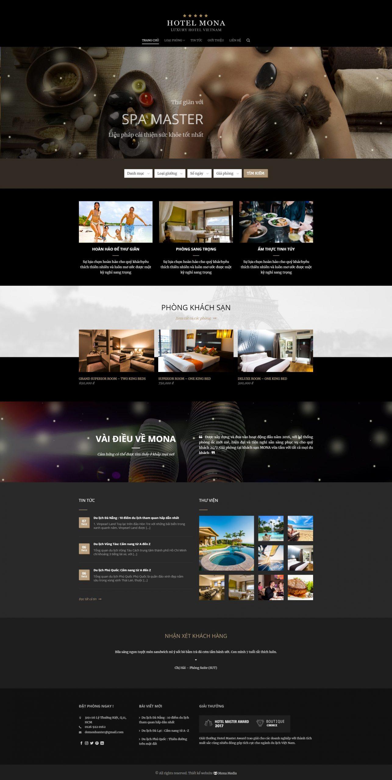 Mẫu web khách sạn Hotel Master