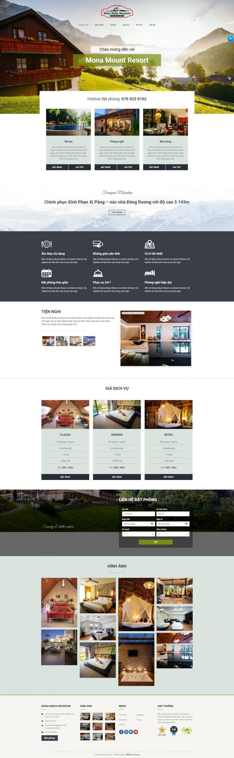mẫu web khách sạn Mount