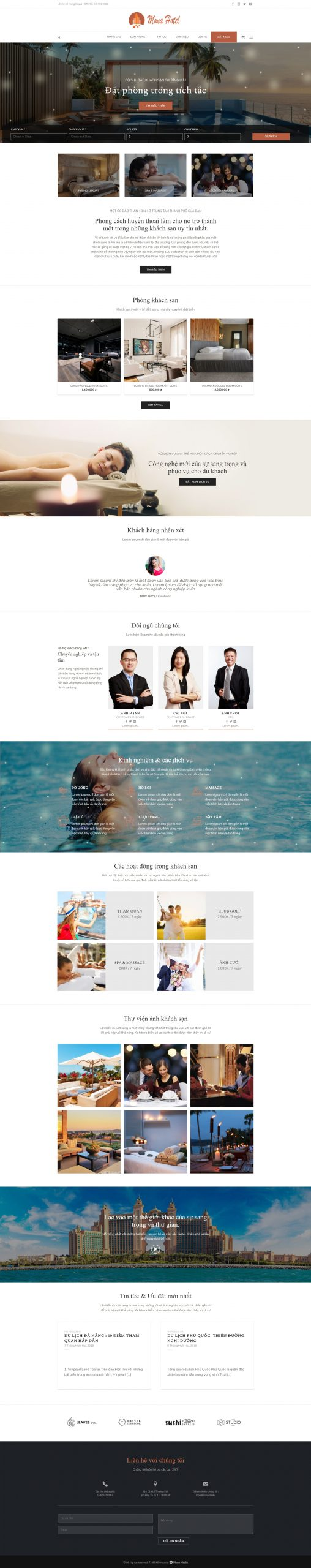mẫu website khách sạn Swing Four