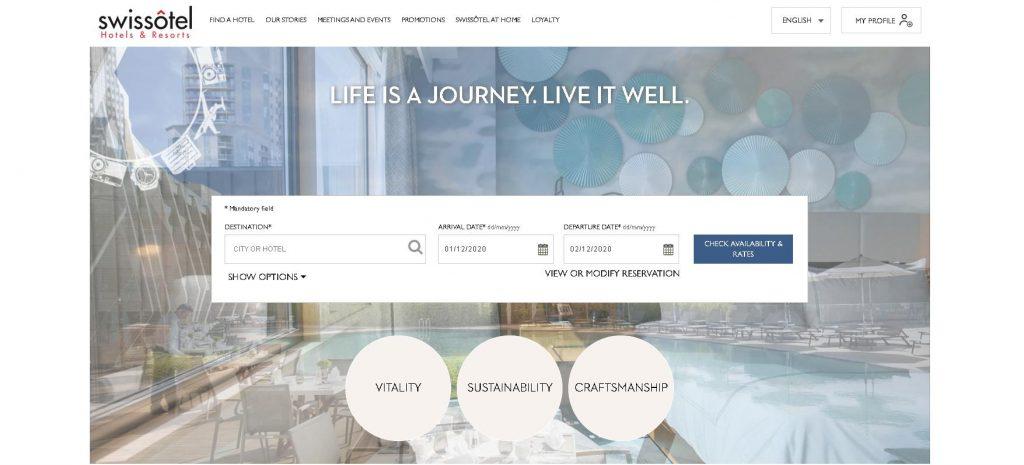 Mẫu trang web khách sạn Swissotel