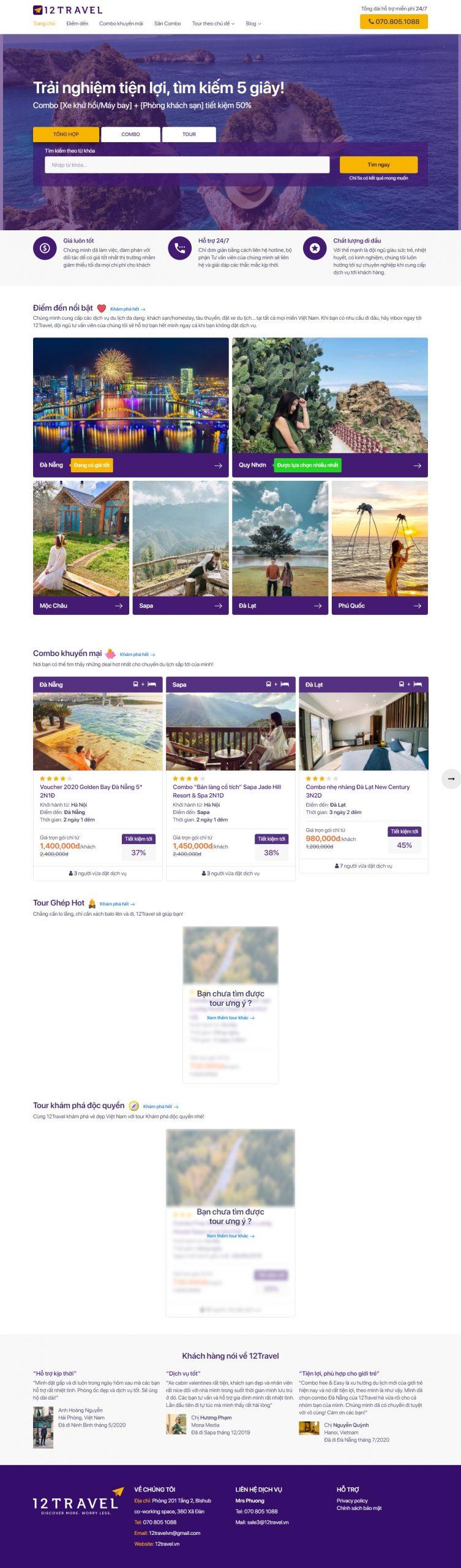 dự án website du lích 12 travel